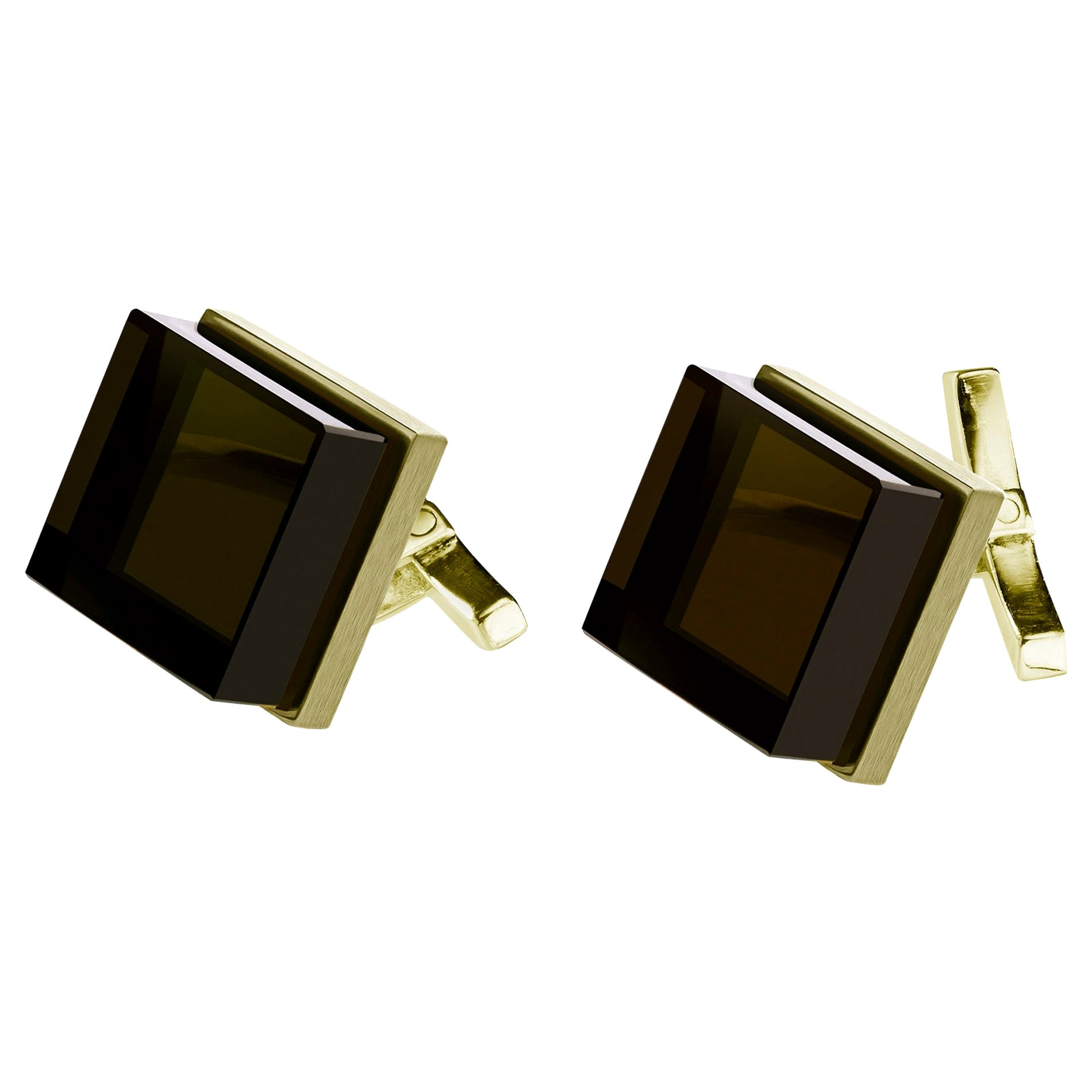 Yellow Gold-Plated Sterling Silver Art Deco Style Cufflinks with Quartz