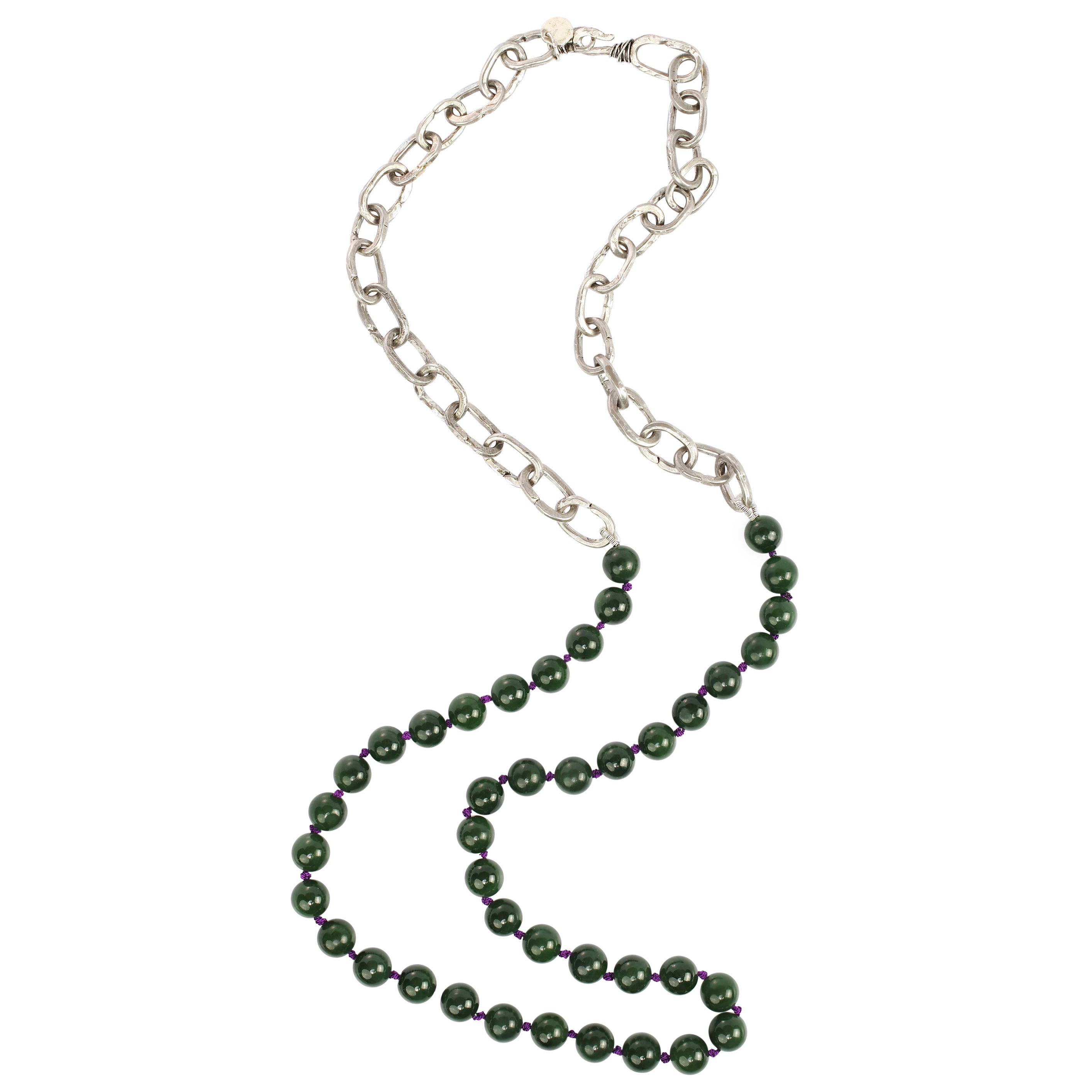 Jade and Chain Necklace Handmade by Augusten Burroughs
