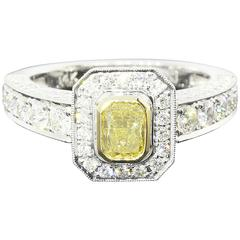 Fancy Yellow Canary Radiant Diamond Halo Ring