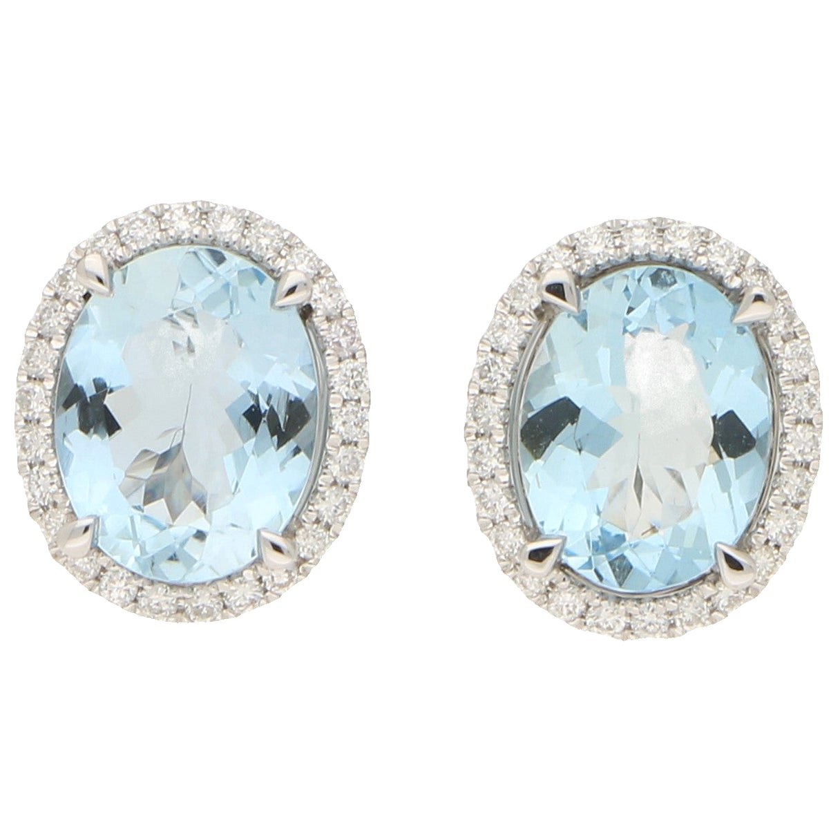 Large Aquamarine and Diamond Cluster Halo Earrings Set in 18 Karat White Gold