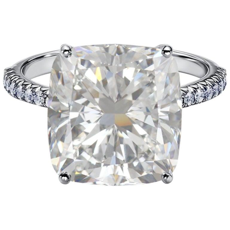 GIA Certified 10.50 Carat Cushion Cut Diamond Ring VVS1 Clarity E Color