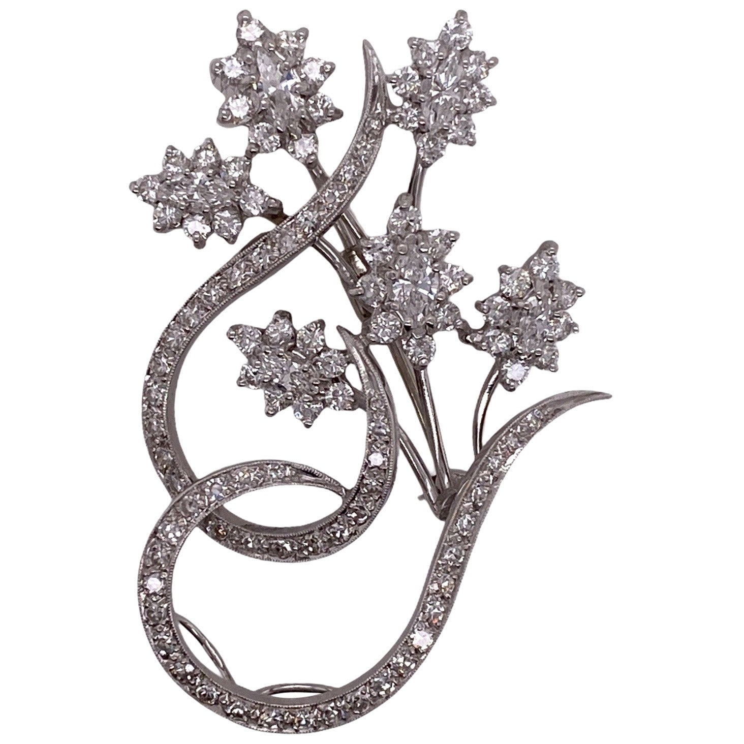 1960s Diamond Floral White Gold Vintage Pin Brooch