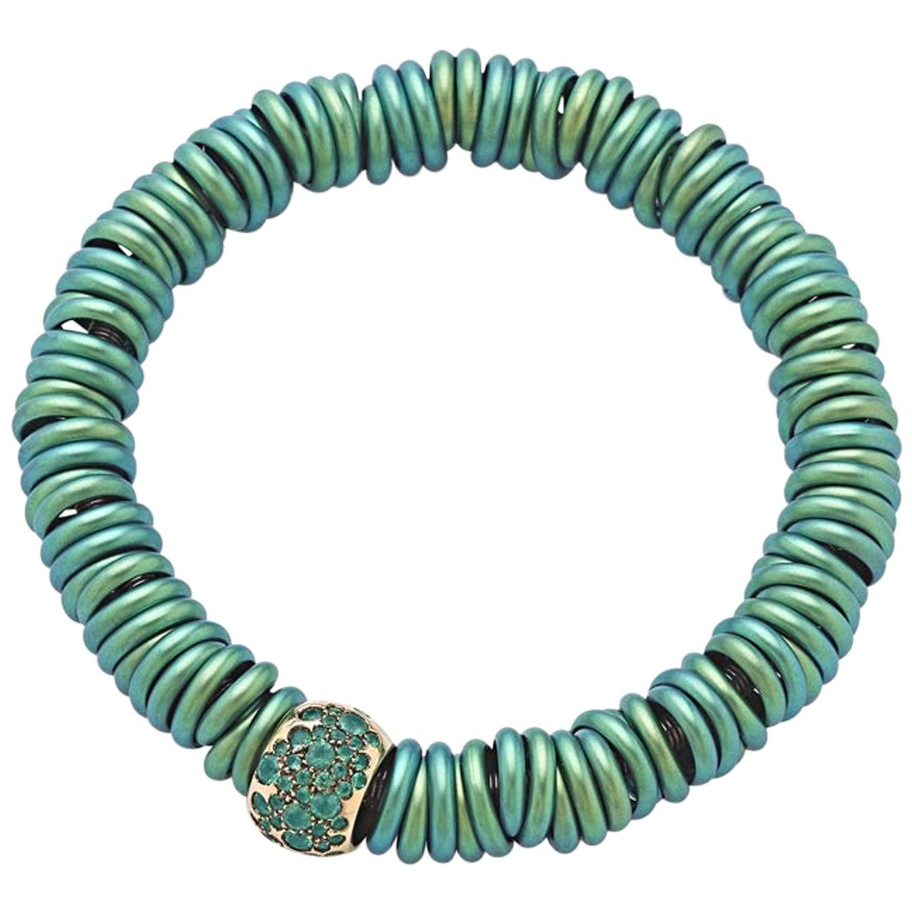 Bang Titanium Green Bracelet or Emeralds Rose Gold