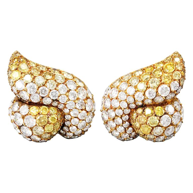 Gioia Yellow and White Diamond Gold Earrings
