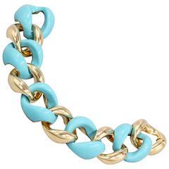 Seaman Schepps Turquose Gold Large Link Bracelet