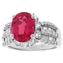 Fabulous 3.75 Pink Spinel  Diamond Ring  GIA Cert.