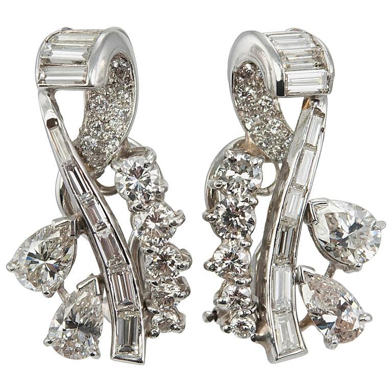 Diamond Platinum Ear Crawler Earrings