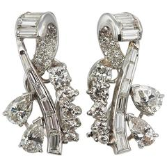 Diamond Platinum Ear Crawler Earrings