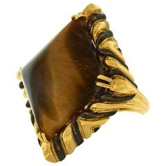 Fabulous David Webb Enamel Tiger's Eye Gold Ring