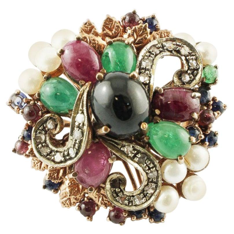 Diamonds, Emeralds, Rubies, Sapphires, Pearls, 9 Karat Gold, Silver Vintage Ring