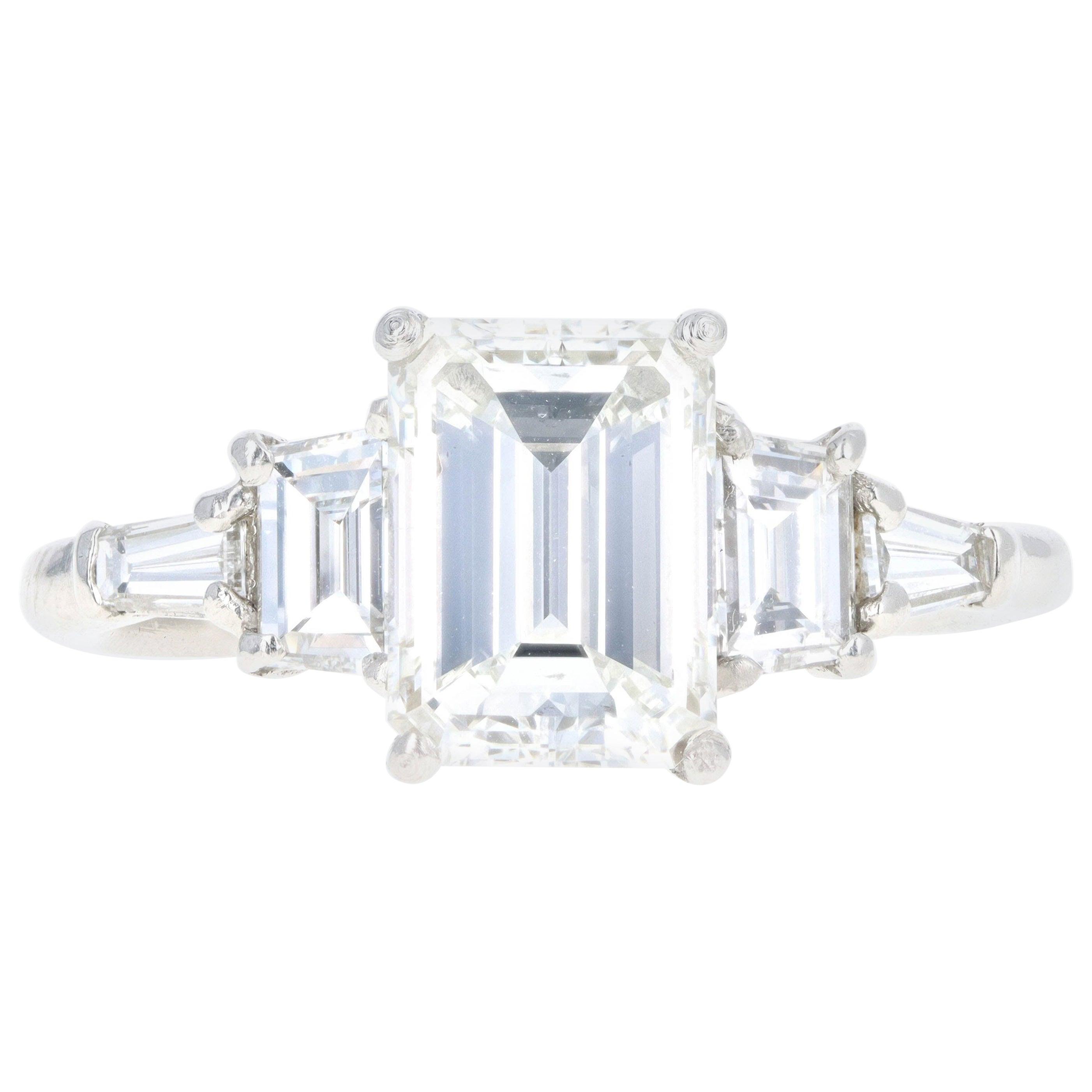 Platinum 2.03 Carat Emerald Cut Diamond Engagement Ring