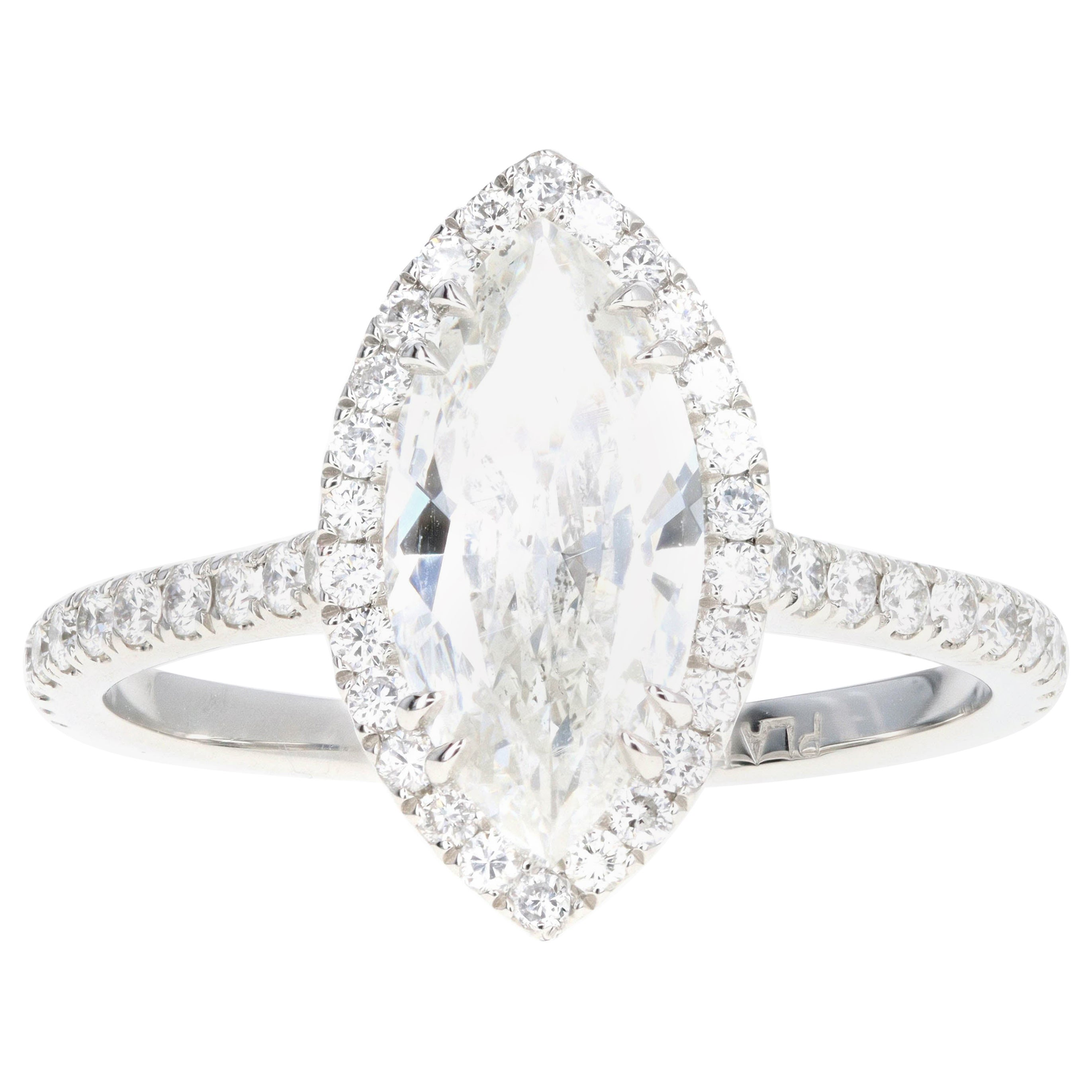 Platinum 1.59 Carat Marquise Cut Diamond Halo Engagement Ring