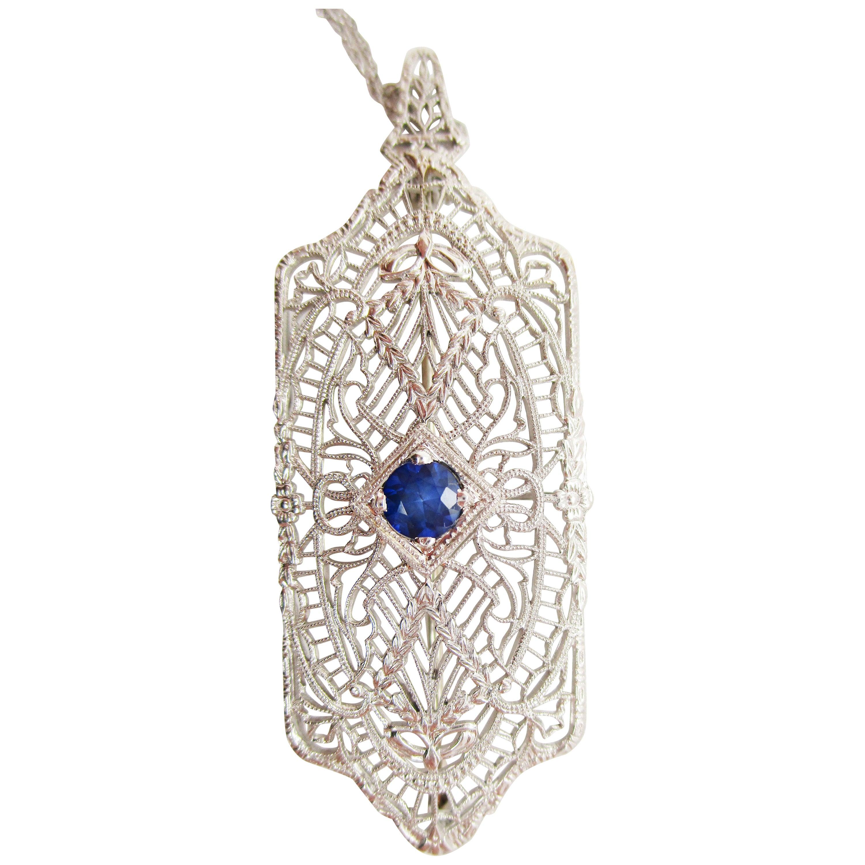 Art Deco 14 Karat White Gold Filigree Sapphire Pin Pendant