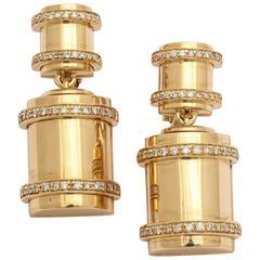Faraone Mennella diamond gold Bullet Earrings