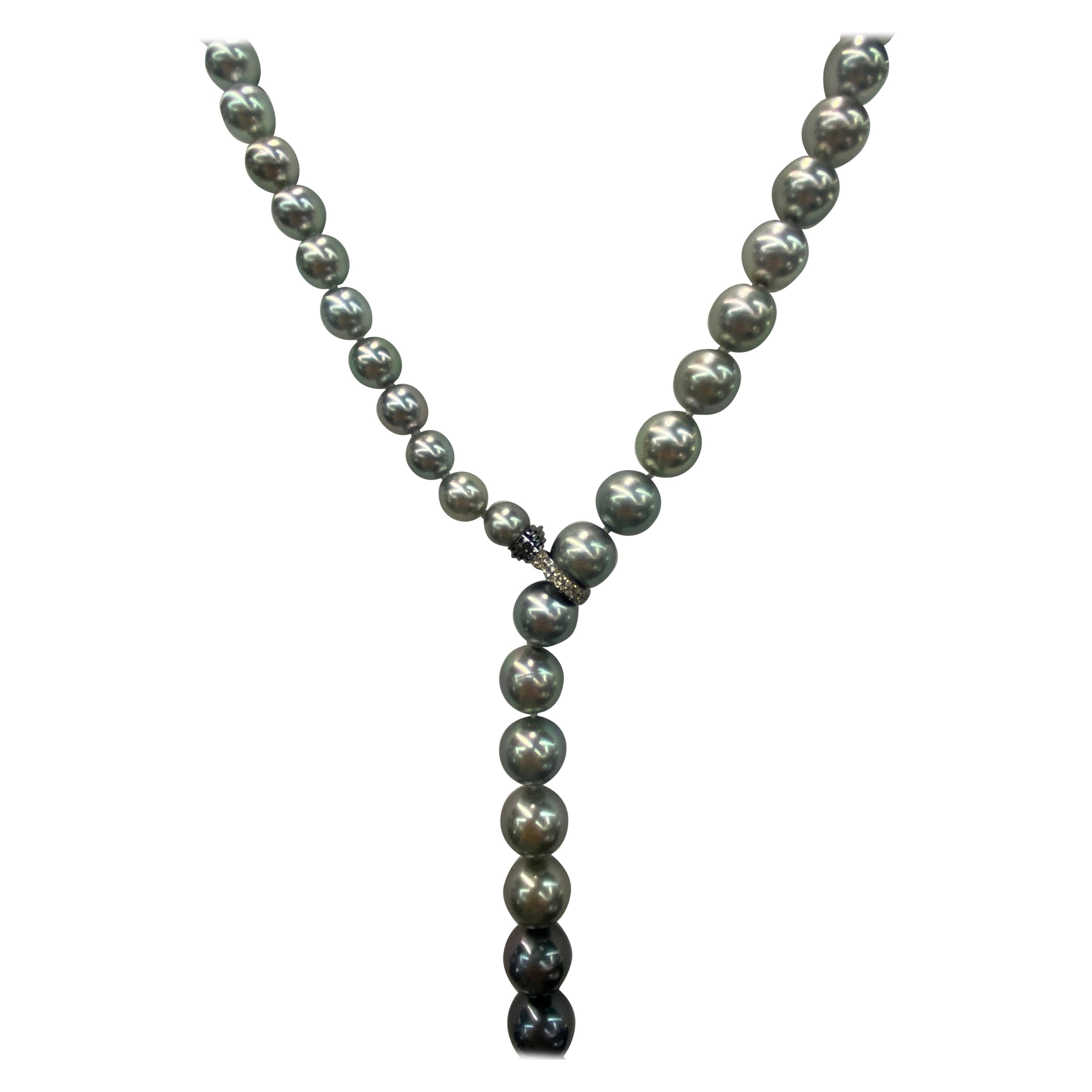 HARBOR D. Ombre Tahitian Diamond Pearl Necklace 8-13.9 MM
