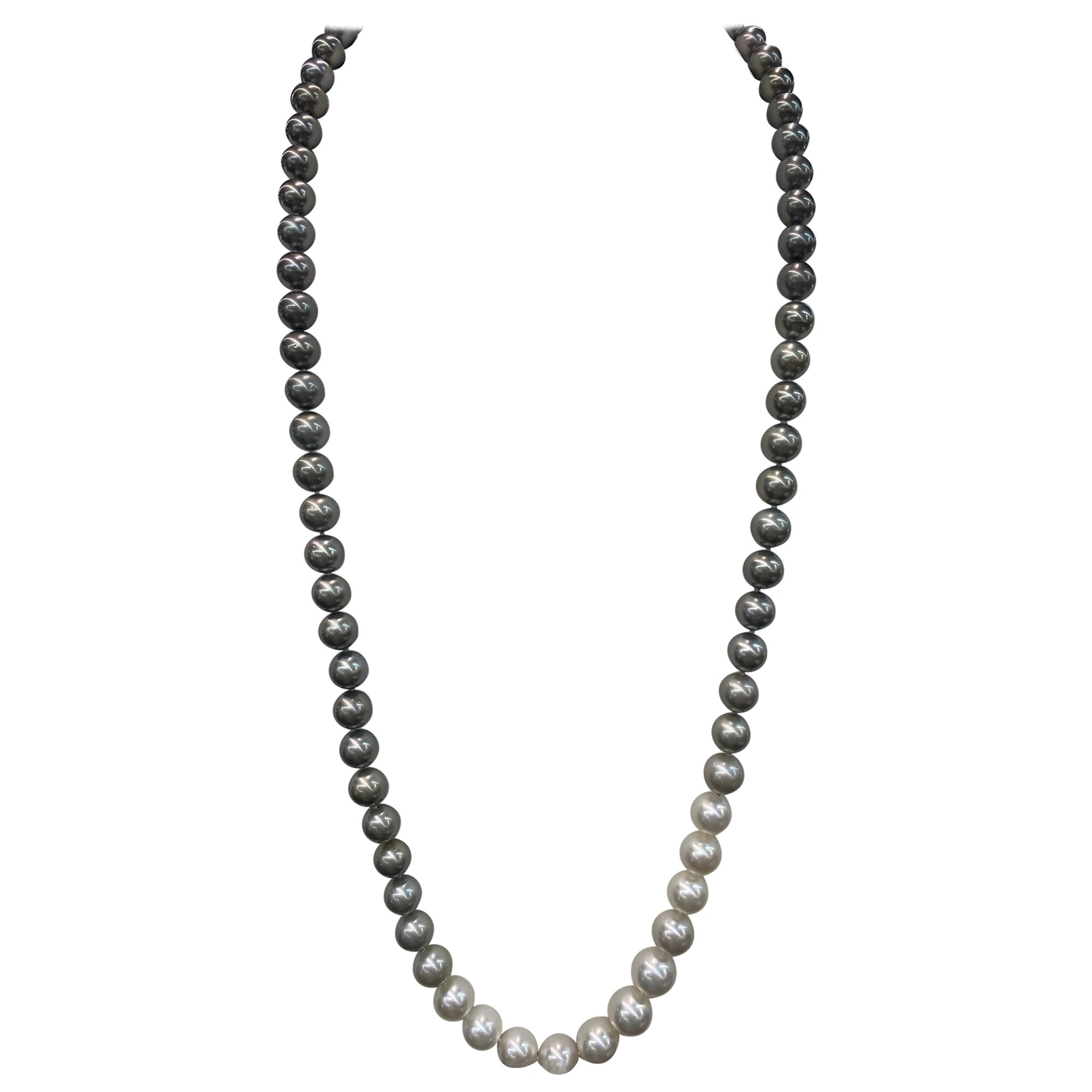 HARBOR D. Opera Ombre South Sea and Tahitian Pearl Necklace Diamond Clasp
