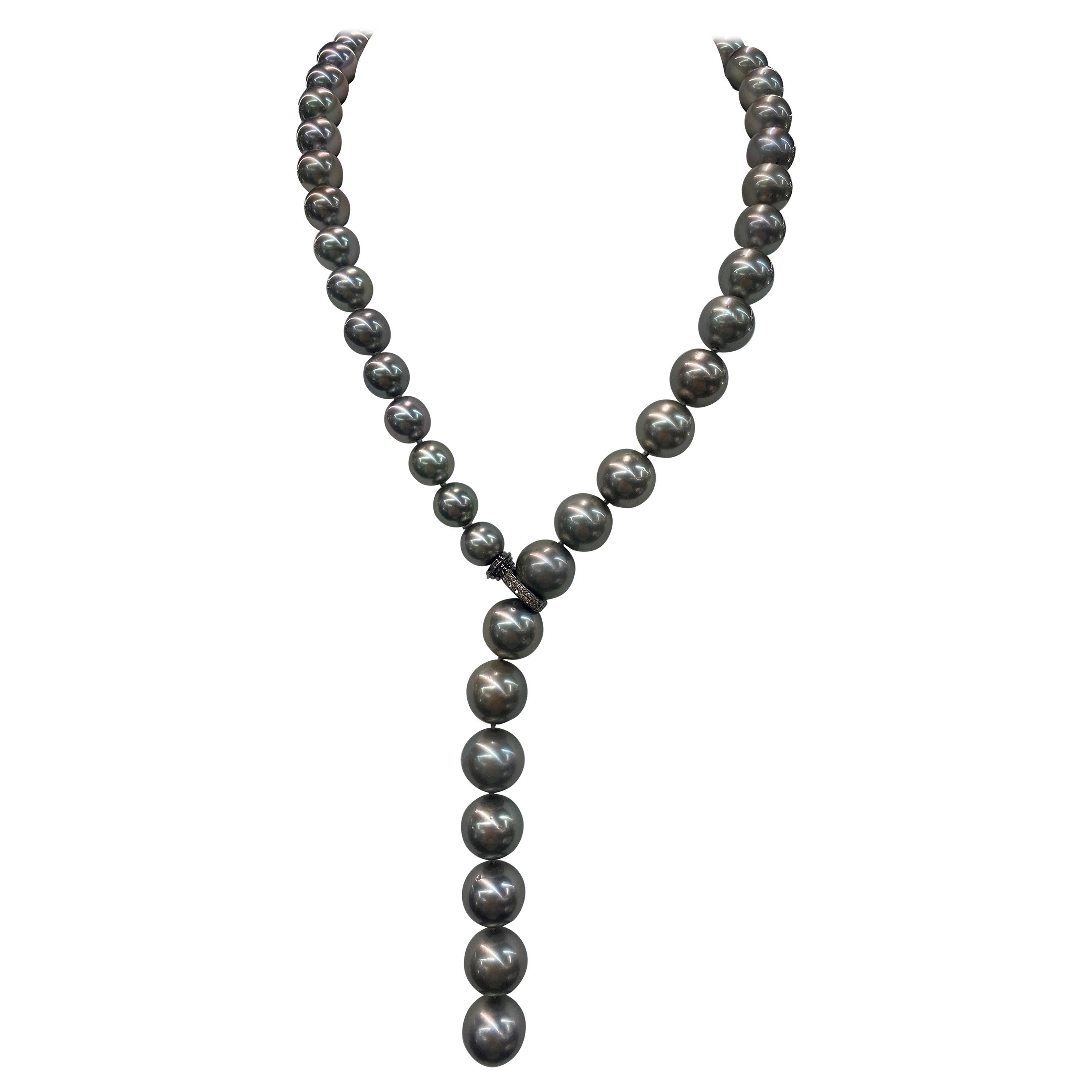Tahitian Pearl Diamond Clasp Necklace White Gold