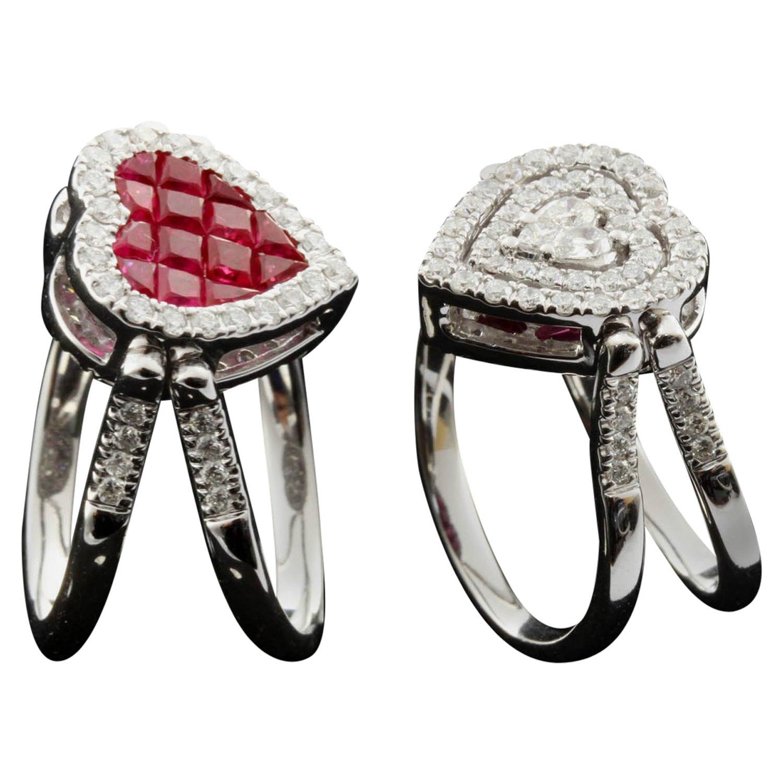 Ruby and Diamond Heart Shape Flip Ring in 18 Karat Gold