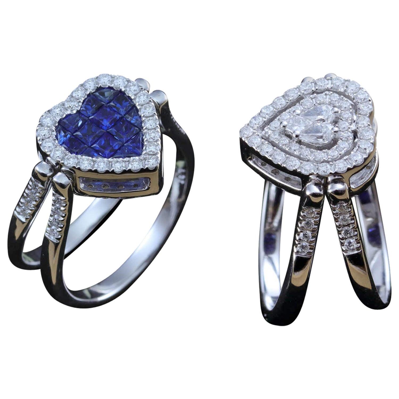Sapphire and Diamond Heart Shape Flip Ring in 18 Karat Gold