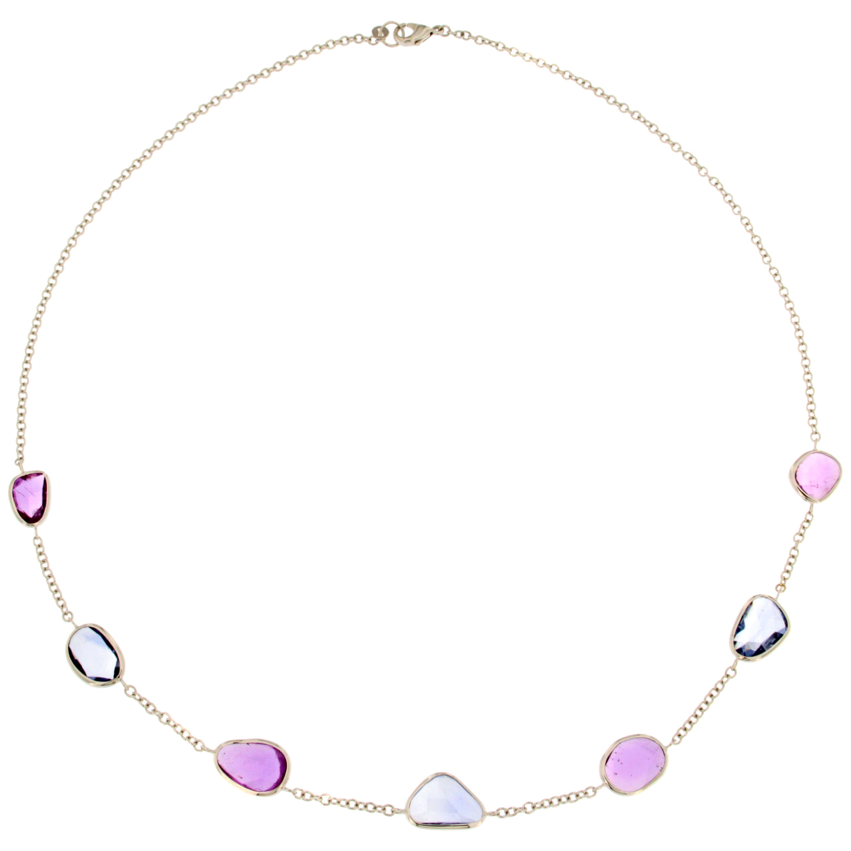 Blue and Pink Sapphire 18 Karat White Gold Necklace