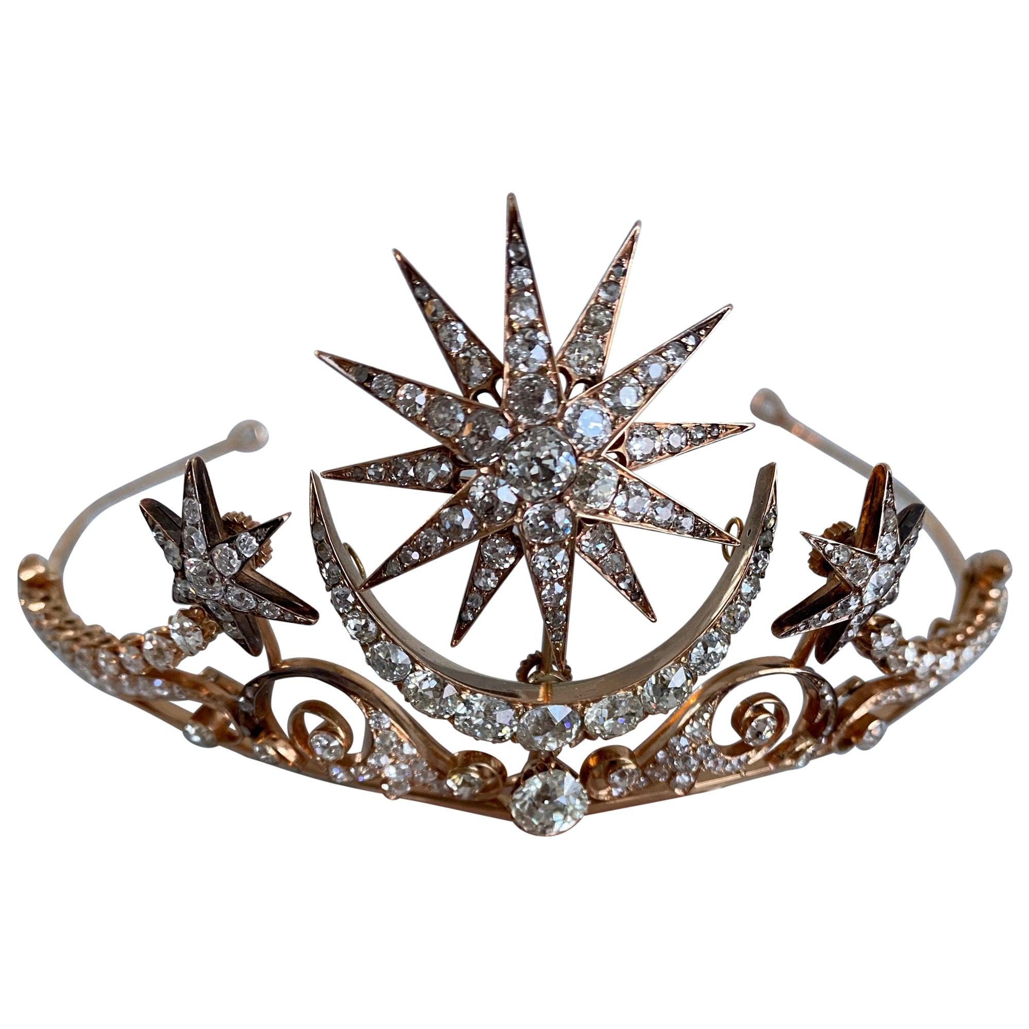 Victorian Era Antique Diamond and Rose Gold Tiara