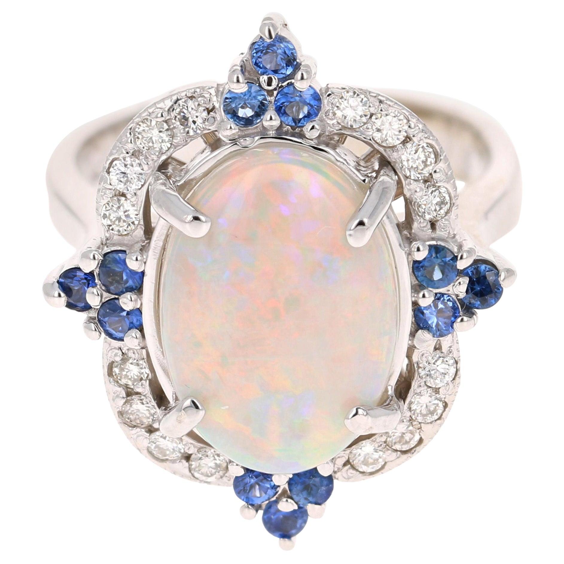 4.27 Carat Opal Blue Sapphire Diamond 14 Karat White Gold Ring