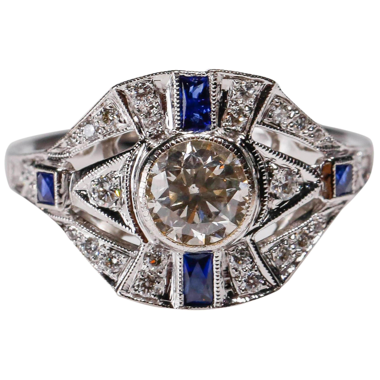 0.30 Carat Sapphire 0.72 Carat Diamond 18 Karat White Gold Round Halo Ring