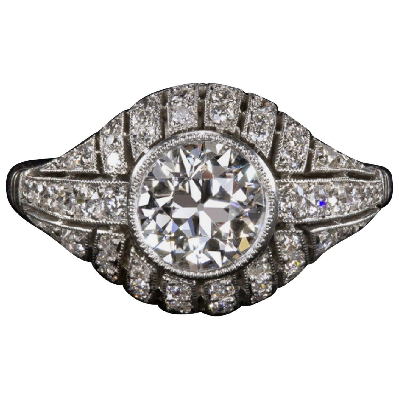 1.65 Carat Art Deco Platinum Ring