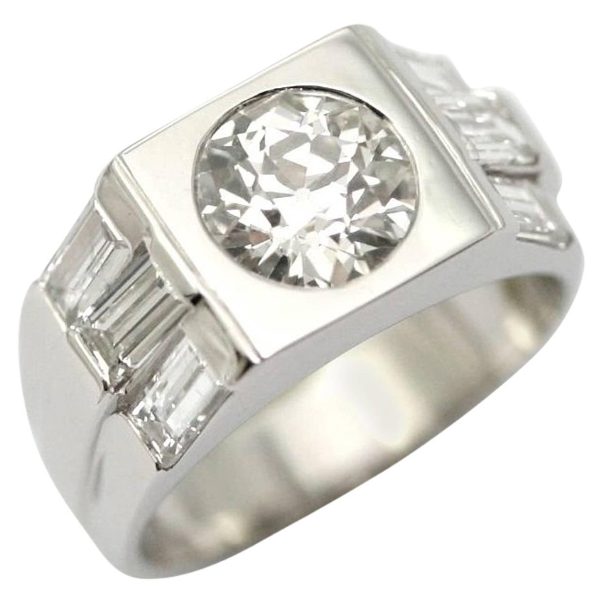 1930s 1 57 carat platinum signet band ring