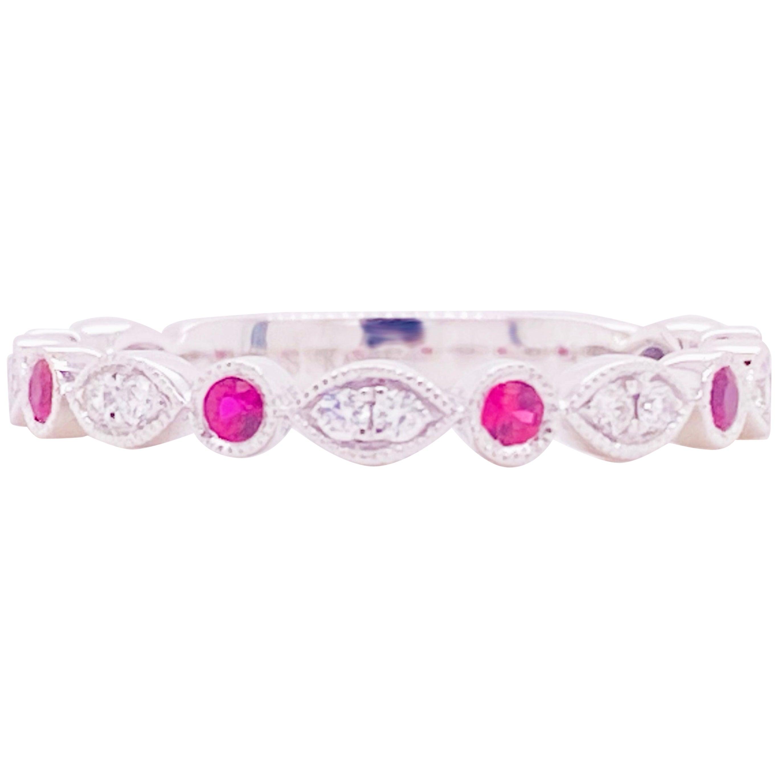 Ruby Diamond Ring, 14 Karat White Gold, Wedding Band, Stackable Band