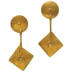 Art Deco 22 Karat Gold Dangle Earrings