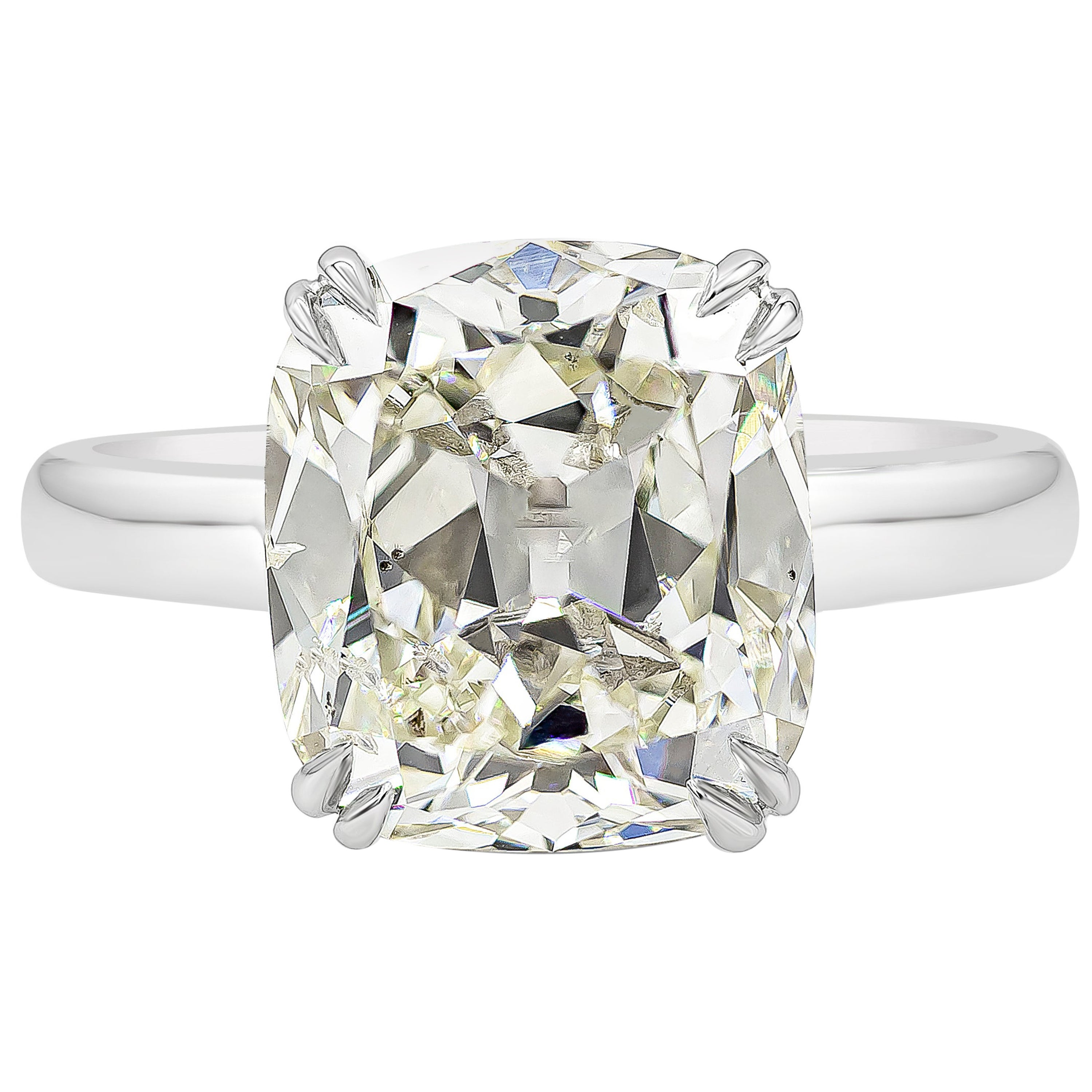 GIA Certified 5.53 Carat Cushion Brilliant Diamond Solitaire Engagement Ring