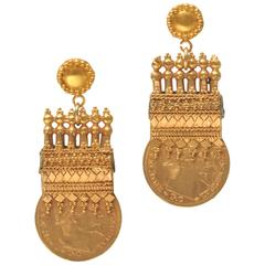 Early 1900s Etruscan Design 22 Karat Gold Coin Earrings