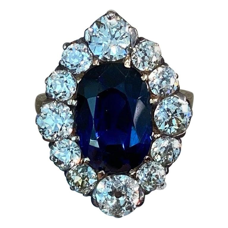 AGL Certified 10.04 Carat Ceylon Blue Oval Sapphire Diamond Ring