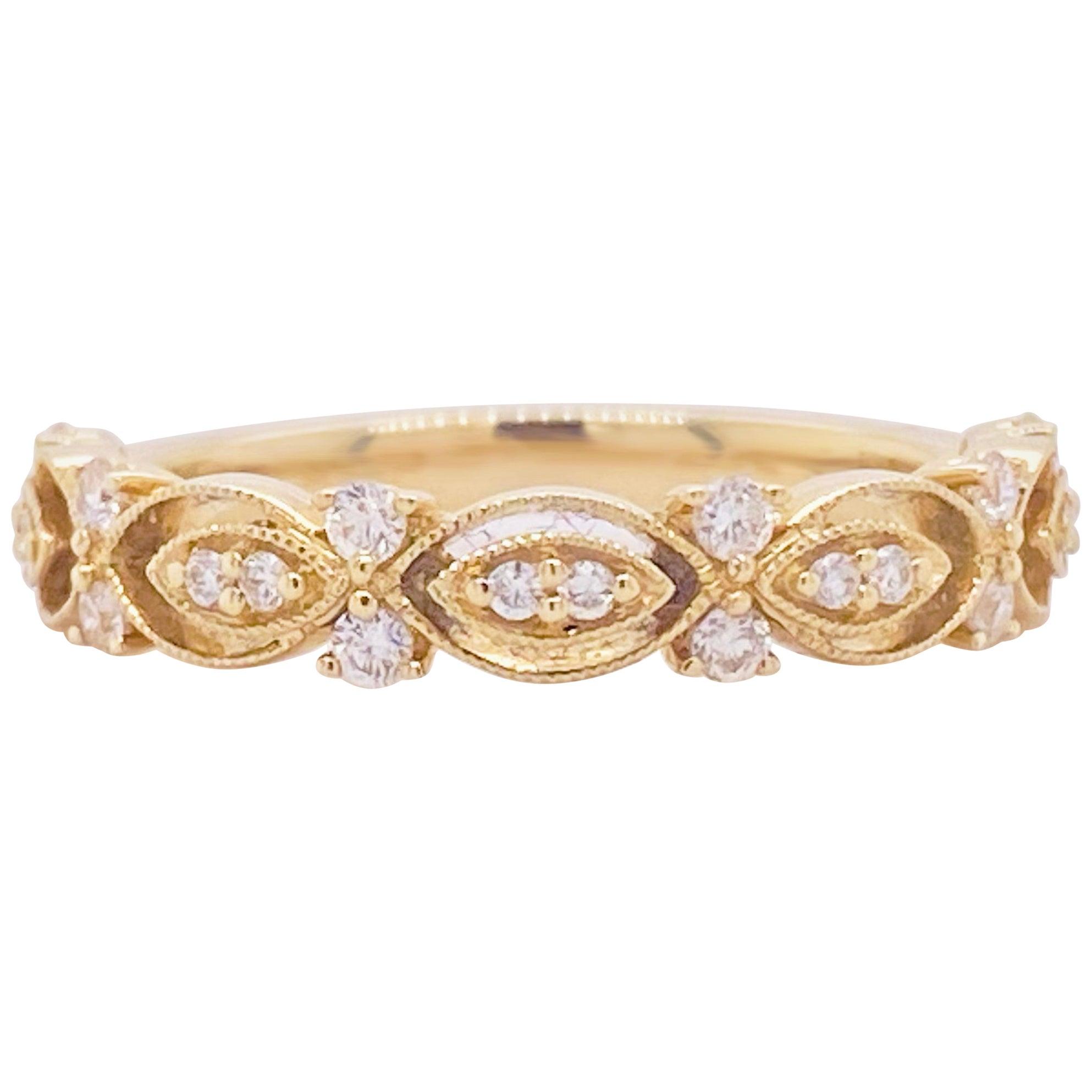 Diamond Band Ring, 14 Karat Gold, Wedding Band, Fashion Band, Stackable Band