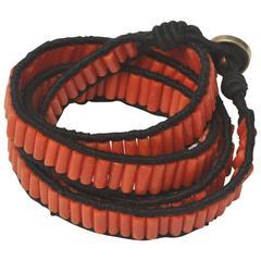 Coral and Cotton Wrap Bracelet