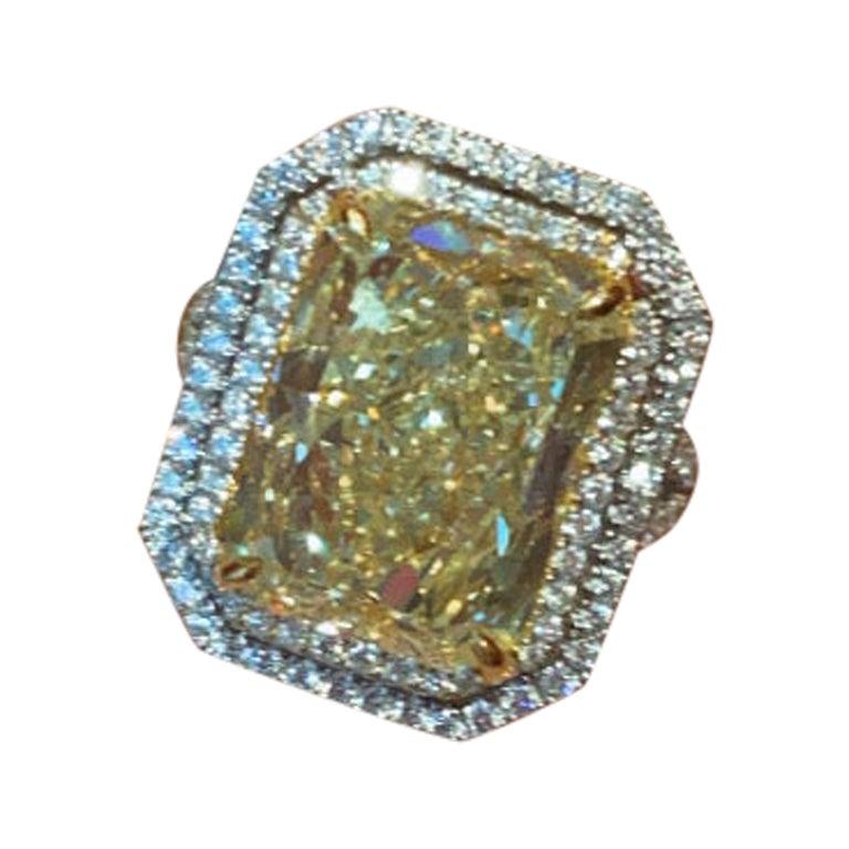 GIA Certified 10.02 Carat Fancy Yellow Rectangular Diamond Ring
