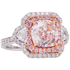 Emilio Jewelry GIA Certified 2.00 Carat Fancy Light Pink Brown Diamond Ring