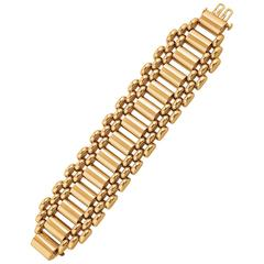 M. C. Mossalone Midcentury Machine Age Gold Bracelet