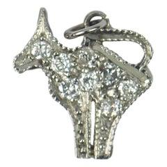 Platinum White Diamond Cat Charm Pendant