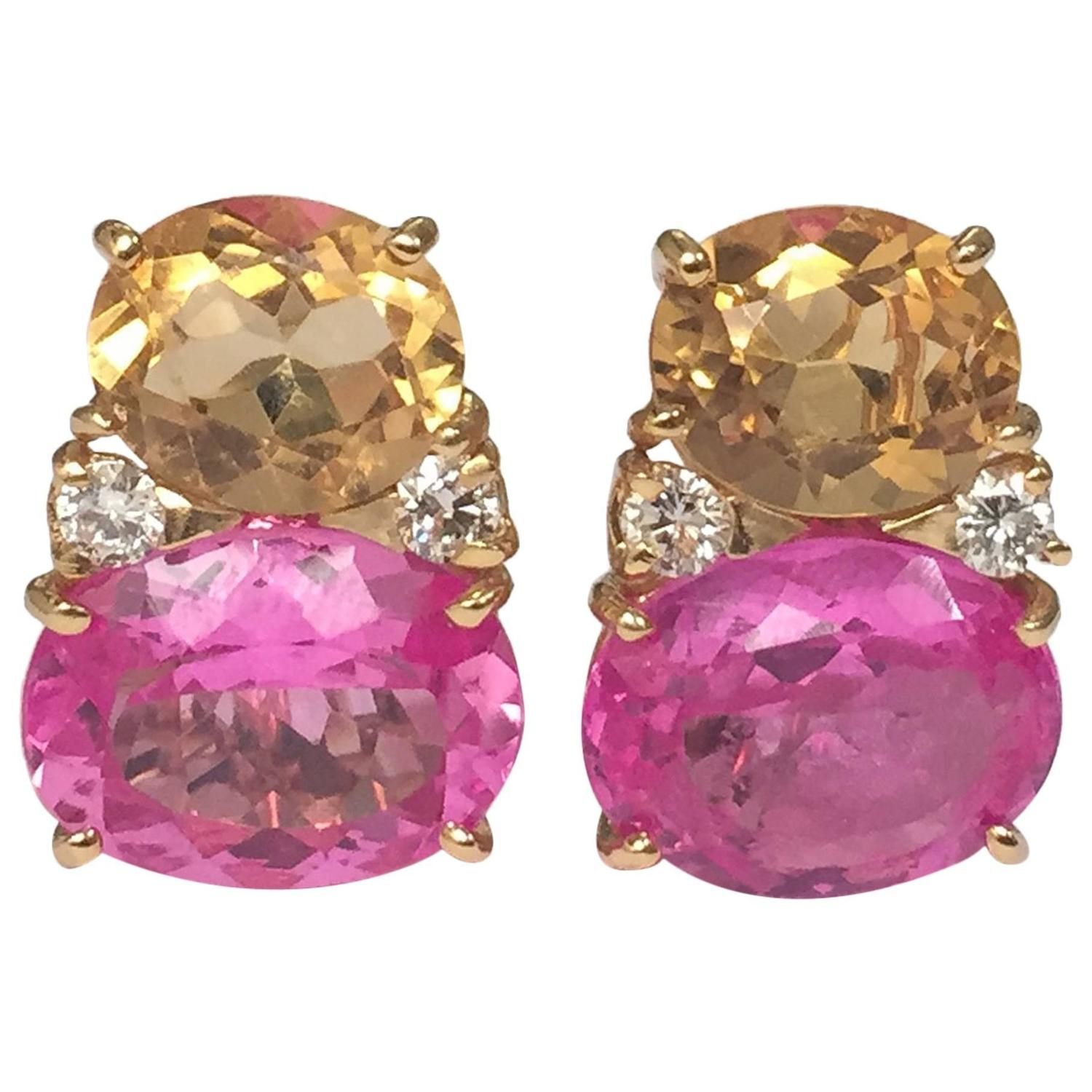 Large Gum Drop Earrings With Citrine And Pink Topaz Diamonds For At 1stdibs