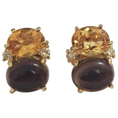 Mini GUM DROP™ Earrings with Citrine and Cabochon Smokey Topaz and Diamonds
