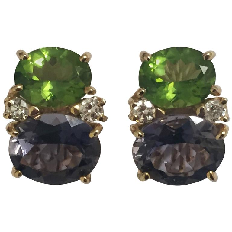Medium GUM DROP™ Earrings with Peridot and Iolite and Diamonds For Sale