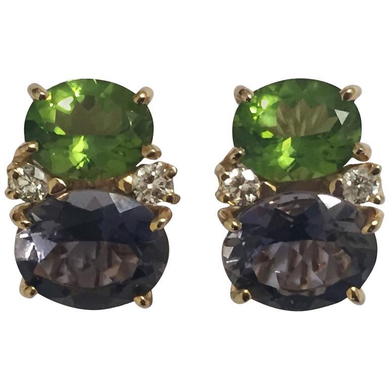 Medium GUM DROP™ Earrings with Peridot and Iolite and Diamonds
