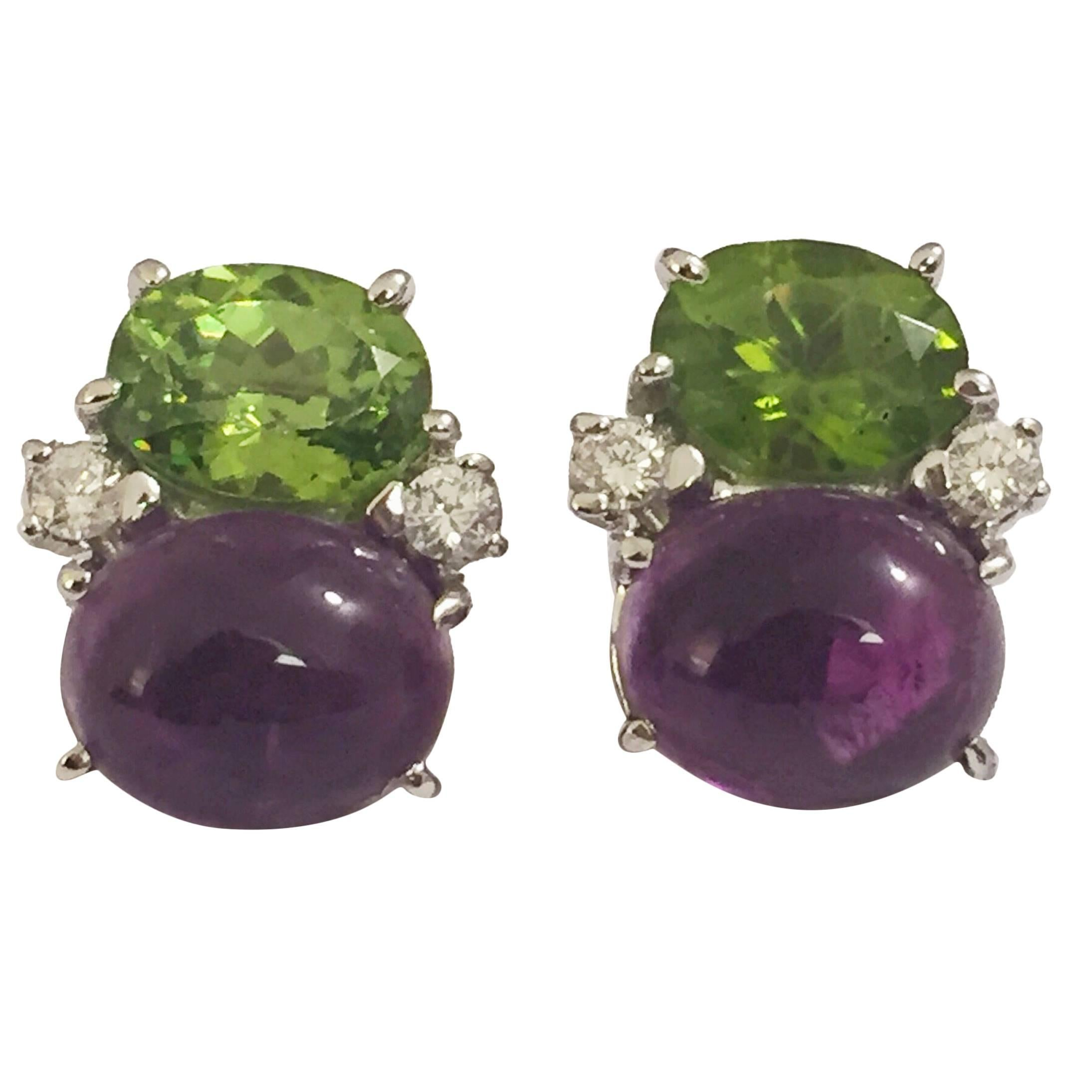 Medium GUM DROP™ Earrings with Peridot and Cabochon Amethyst and Diamonds