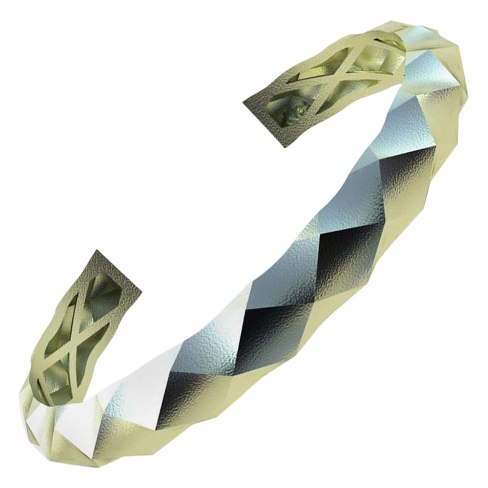14 Karat Green Gold Concave Rhombus Unisex Cuff Bracelet