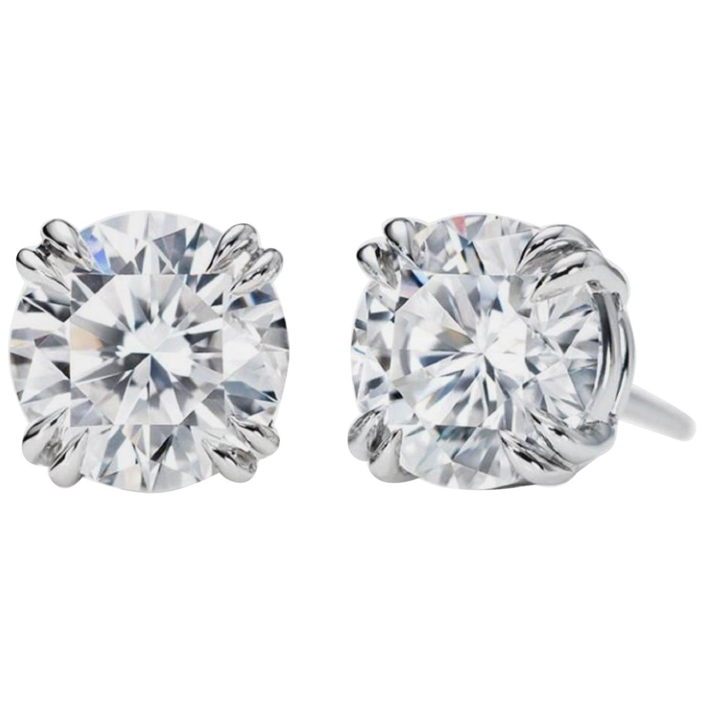 GIA 3.06 Carats Diamond Studs E Color VVS1 Clarity
