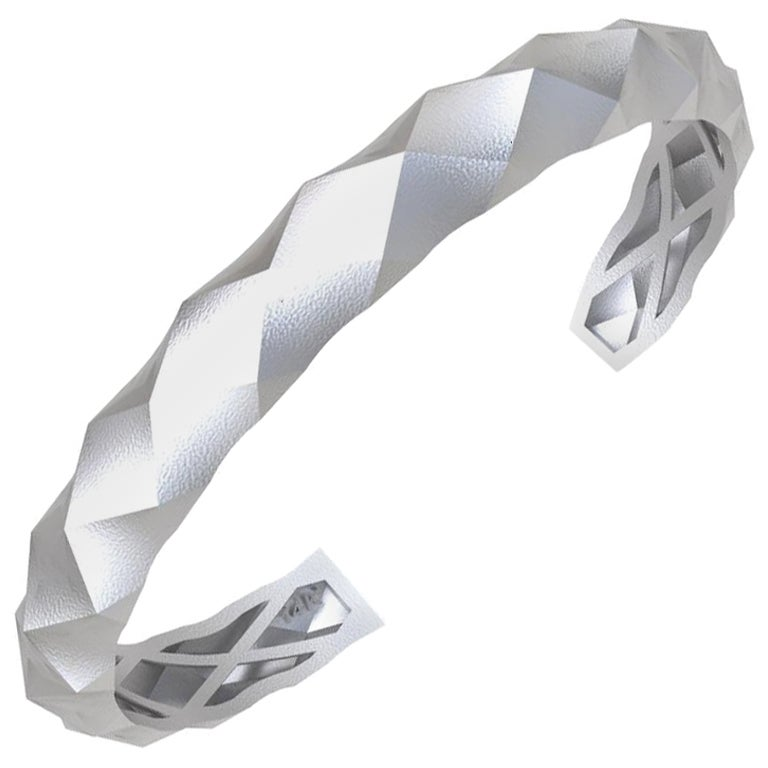 14 Karat White Gold Concave Rhombus Unisex Cuff Bracelet