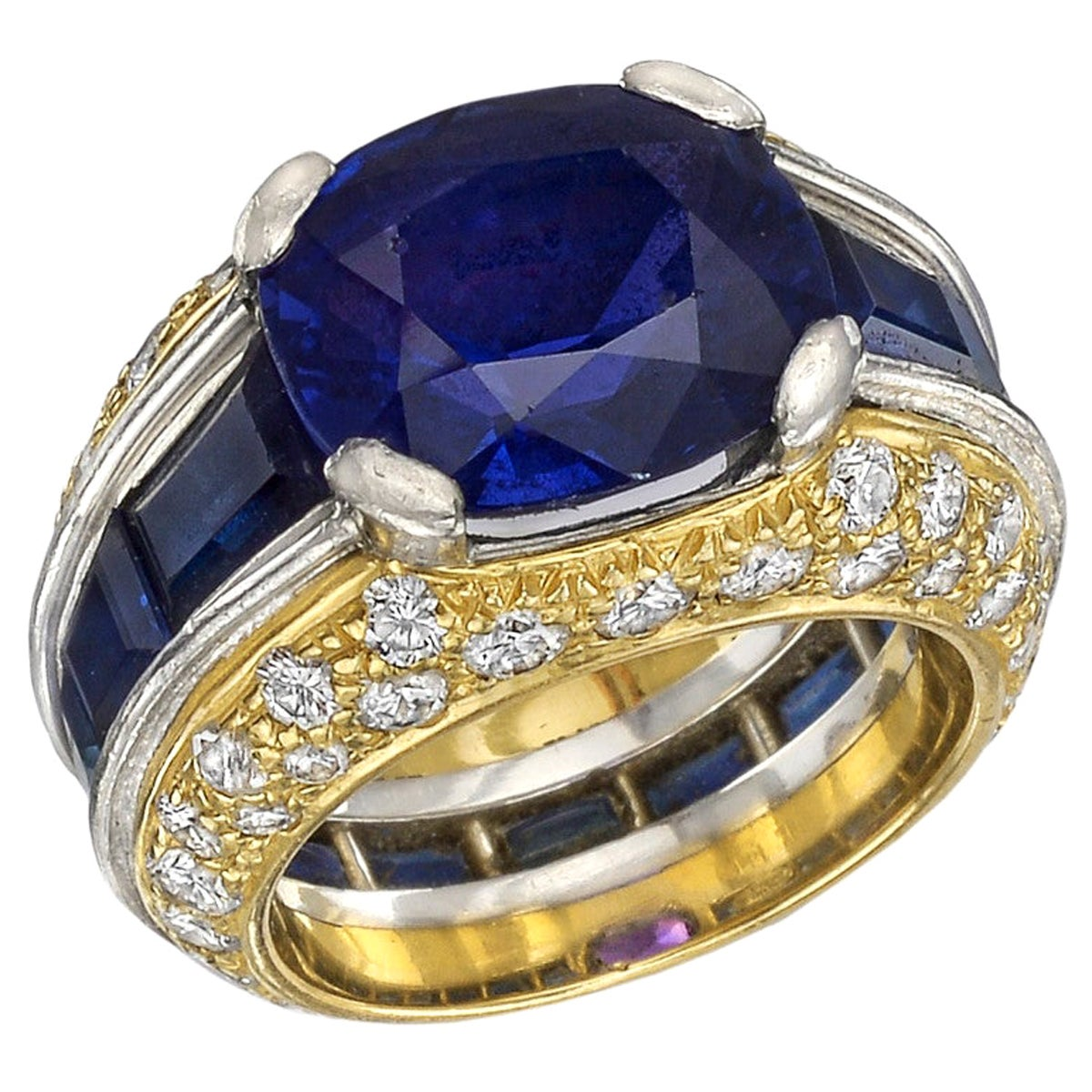 5.15 Carat Sapphire and Diamond Cocktail Ring