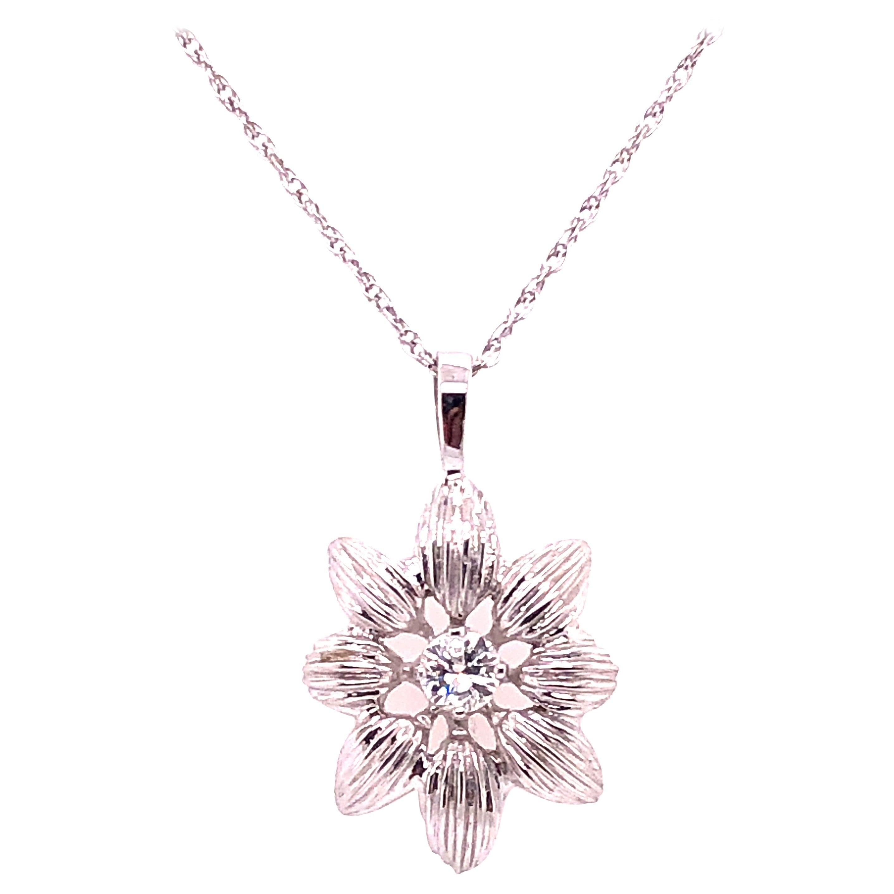 14 Karat White Gold Necklace with Diamond